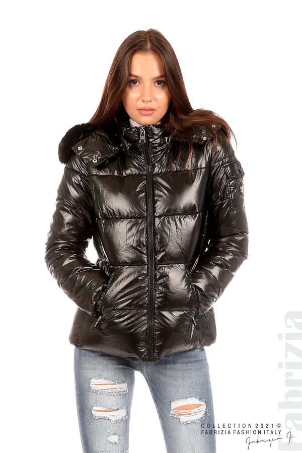 Лъскаво яке с мобилна качулка с кожена яка черен 1 fabrizia