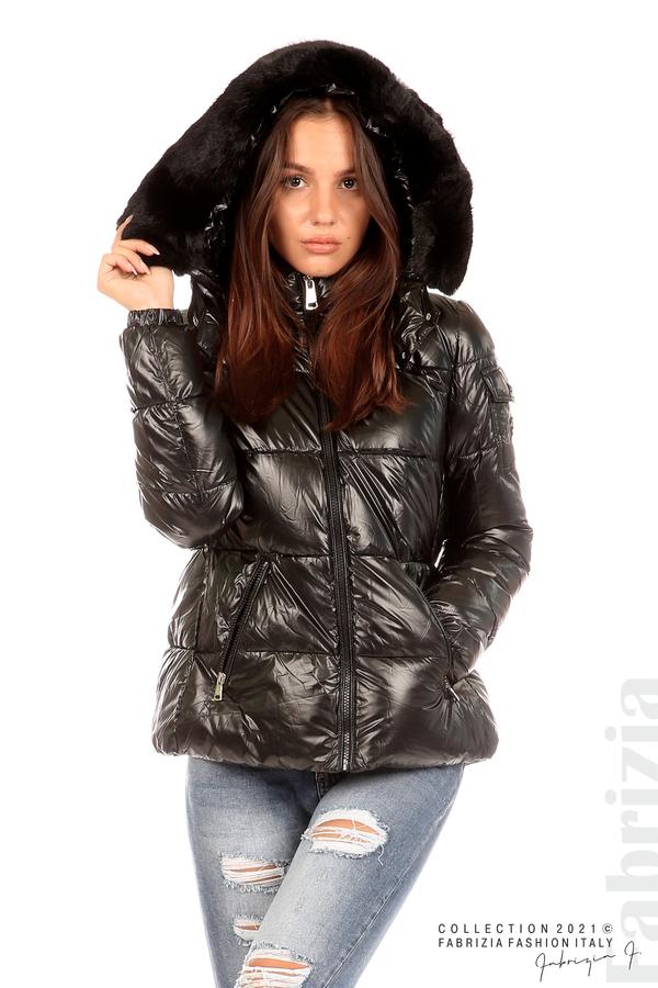 Лъскаво яке с мобилна качулка с кожена яка черен 4 fabrizia