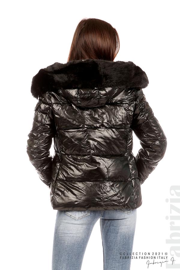 Лъскаво яке с мобилна качулка с кожена яка черен 7 fabrizia