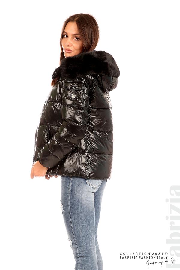 Лъскаво яке с мобилна качулка с кожена яка черен 5 fabrizia