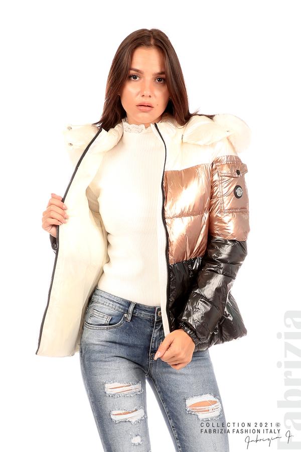 Лъскаво яке с мобилна качулка с кожена яка черен/бронз 3 fabrizia