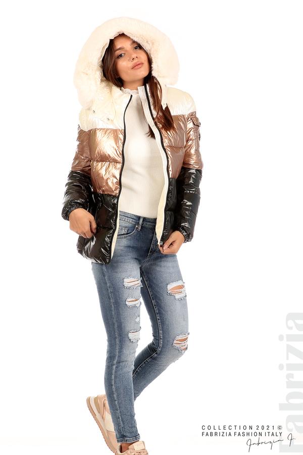 Лъскаво яке с мобилна качулка с кожена яка черен/бронз 5 fabrizia
