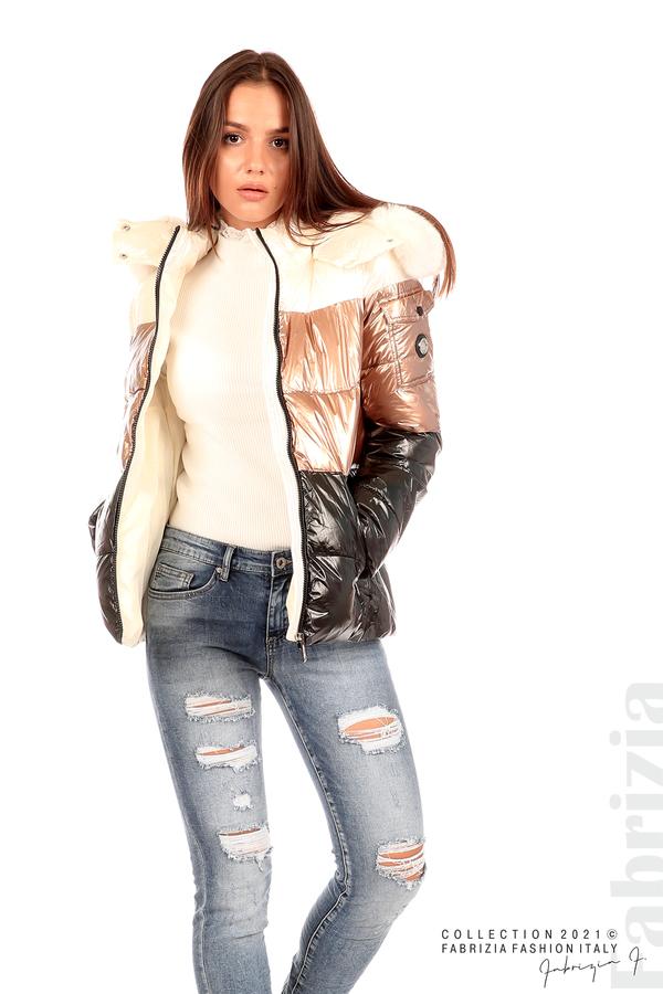 Лъскаво яке с мобилна качулка с кожена яка черен/бронз 4 fabrizia
