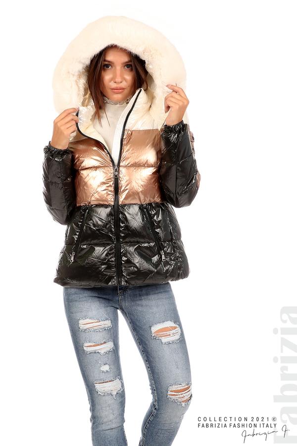 Лъскаво яке с мобилна качулка с кожена яка черен/бронз 6 fabrizia