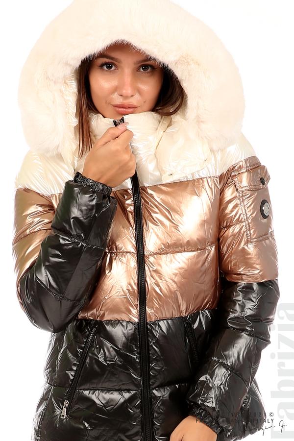 Лъскаво яке с мобилна качулка с кожена яка черен/бронз 2 fabrizia