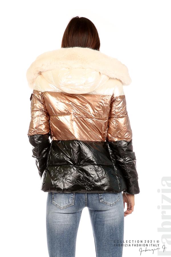 Лъскаво яке с мобилна качулка с кожена яка ерен/бронз 7 fabrizia