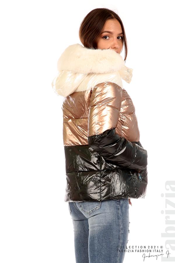 Лъскаво яке с мобилна качулка с кожена яка черен/бронз 8 fabrizia