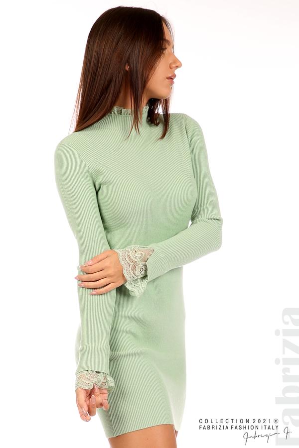 Къса рипсена рокля с дантела бл.зелен 2 fabrizia
