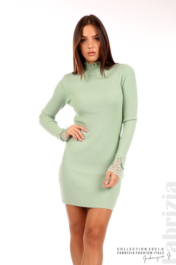 Къса рипсена рокля с дантела бл.зелен 4 fabrizia