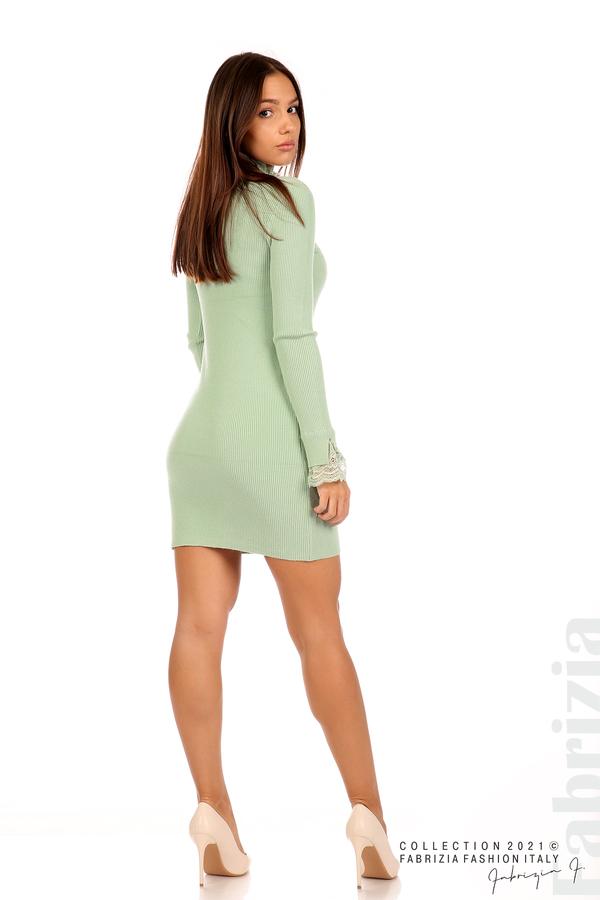 Къса рипсена рокля с дантела бл.зелен 5 fabrizia