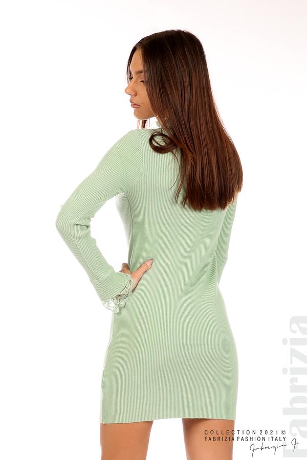Къса рипсена рокля с дантела бл.зелен 6 fabrizia