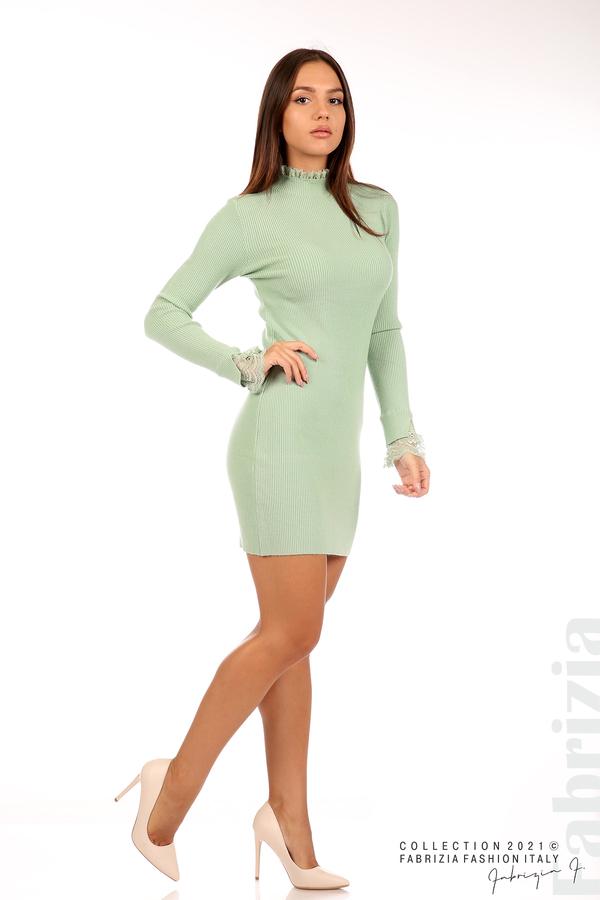 Къса рипсена рокля с дантела бл.зелен 3 fabrizia