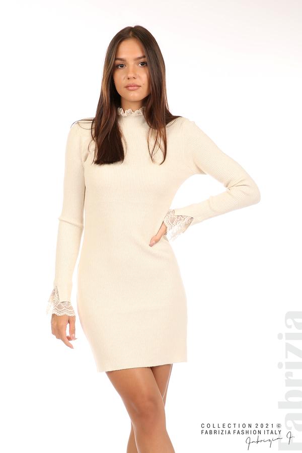 Къса рипсена рокля с дантела бежов 4 fabrizia