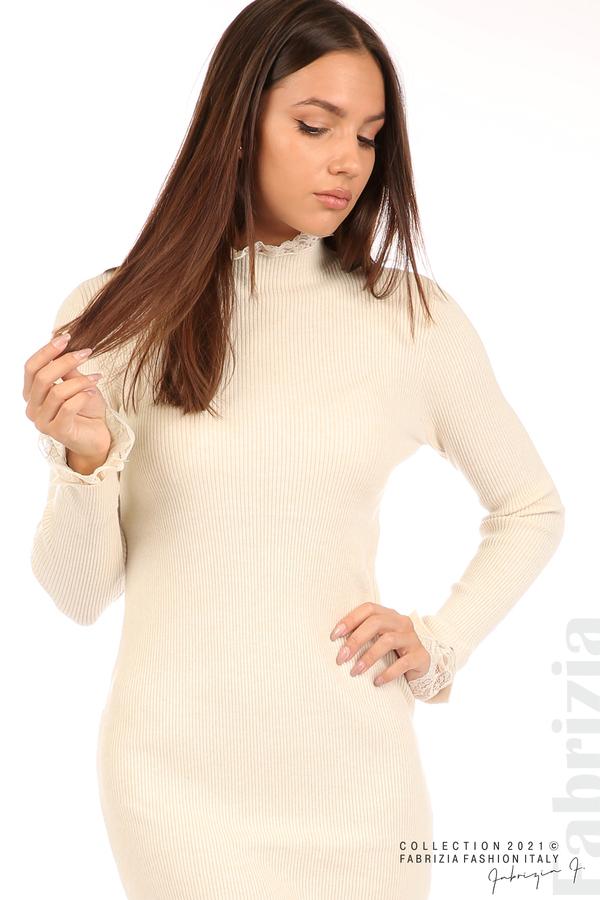 Къса рипсена рокля с дантела бежов 2 fabrizia