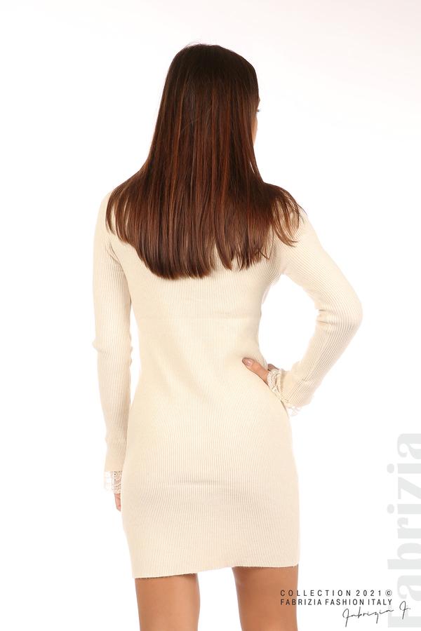 Къса рипсена рокля с дантела бежов 6 fabrizia