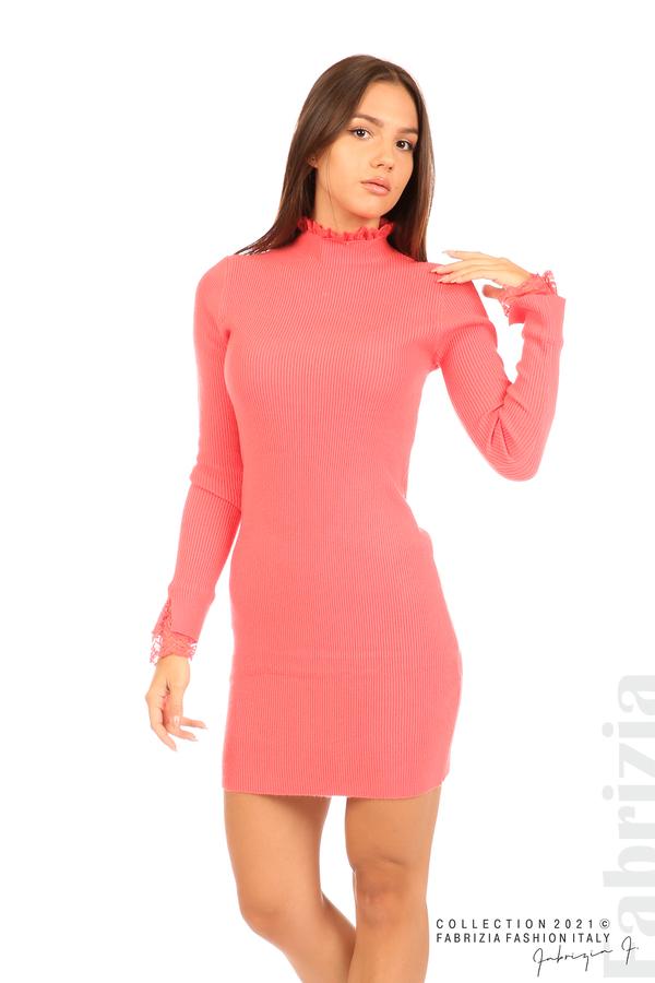 Къса рипсена рокля с дантела корал 4 fabrizia