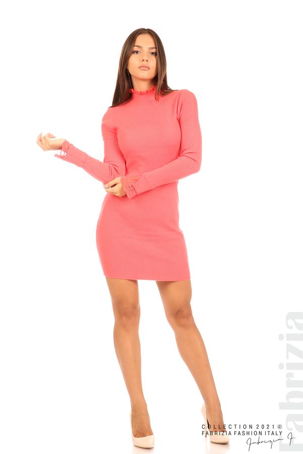 Къса рипсена рокля с дантела корал 3 fabrizia