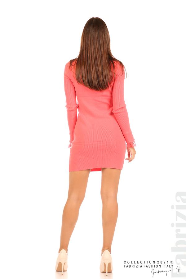 Къса рипсена рокля с дантела корал 6 fabrizia