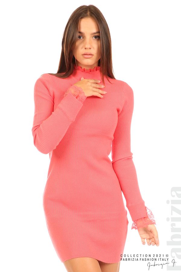 Къса рипсена рокля с дантела корал 2 fabrizia