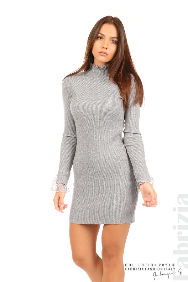 Къса рипсена рокля с дантела сив 4 fabrizia