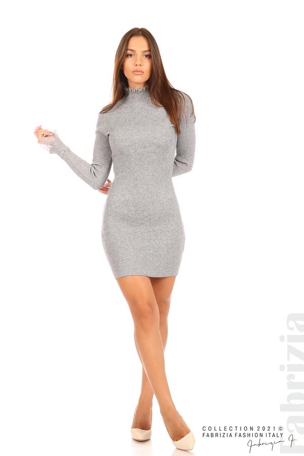 Къса рипсена рокля с дантела сив 3 fabrizia