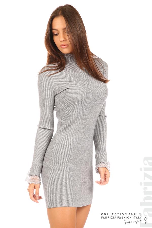 Къса рипсена рокля с дантела сив 1 fabrizia
