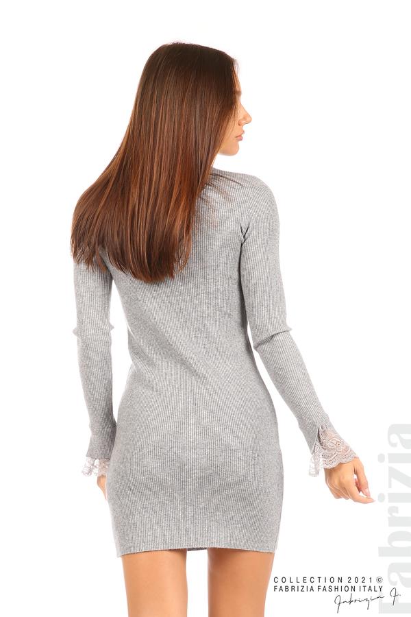 Къса рипсена рокля с дантела сив 7 fabrizia