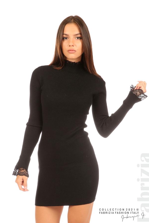 Къса рипсена рокля с дантела черен 1 fabrizia