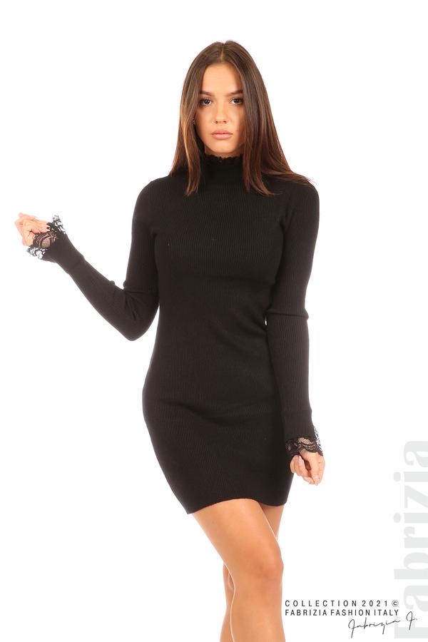 Къса рипсена рокля с дантела черен 4 fabrizia
