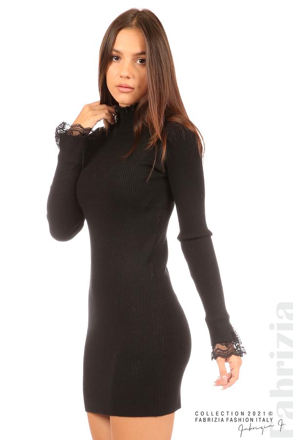 Къса рипсена рокля с дантела черен 2 fabrizia
