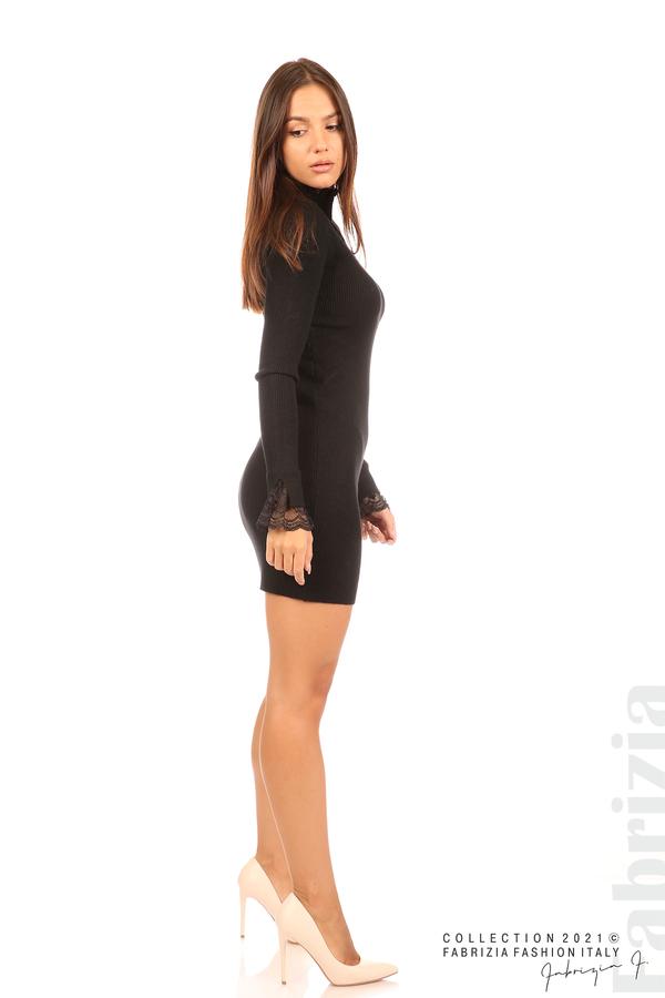 Къса рипсена рокля с дантела черен 3 fabrizia