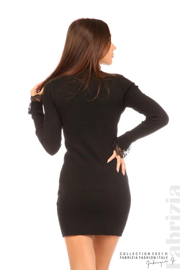 Къса рипсена рокля с дантела черен 6 fabrizia