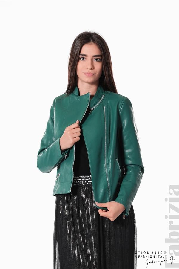 Дамско кожено яке зелен 1 fabrizia