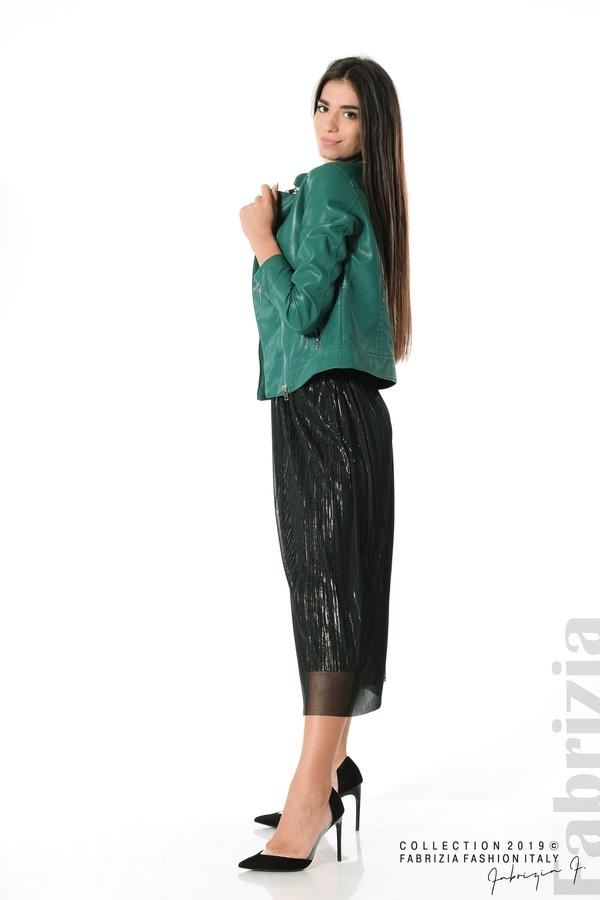 Дамско кожено яке зелен 2 fabrizia
