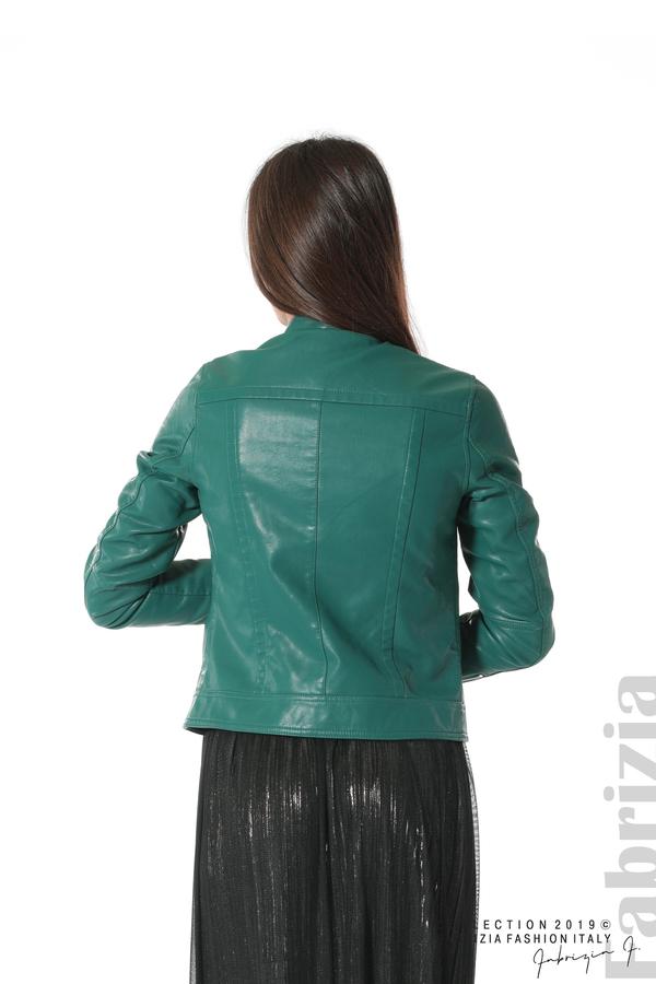 Дамско кожено яке зелен 5 fabrizia