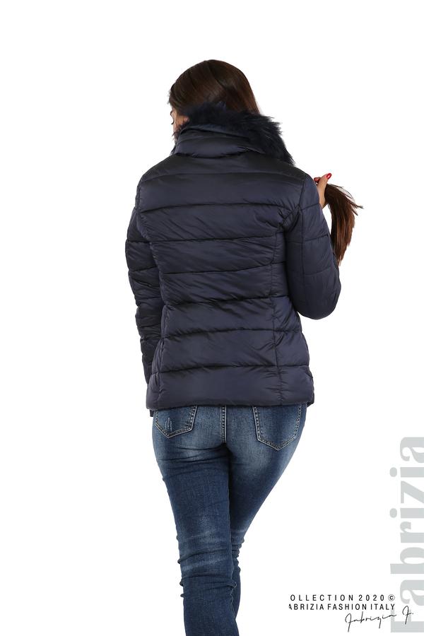 Лъскаво яке с яка от естествен косъм т.син 6 fabrizia