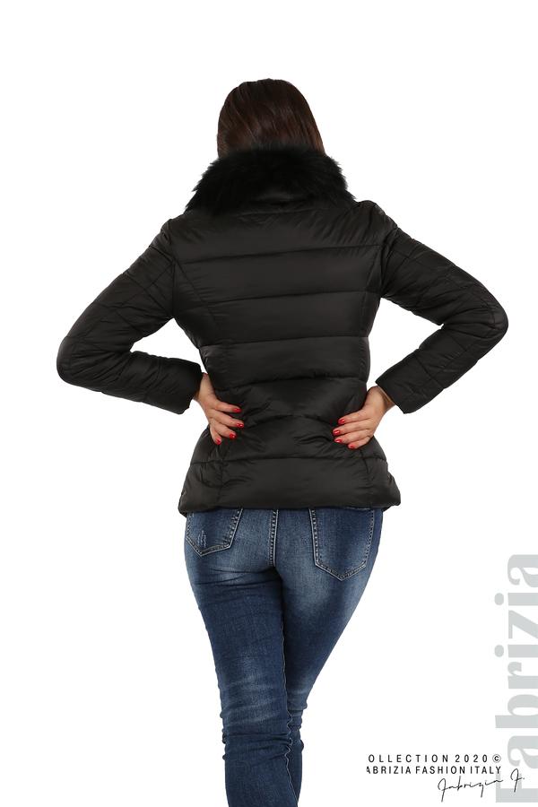 Лъскаво яке с яка от естествен косъм черен 5 fabrizia