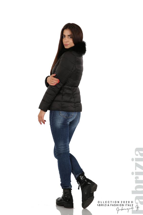 Лъскаво яке с яка от естествен косъм черен 3 fabrizia