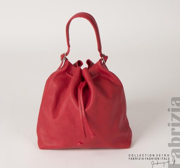 Дамска чанта тип мешка червен 1 fabrizia