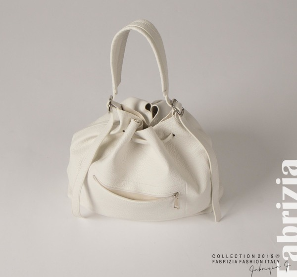 Дамска чанта тип мешка бял 2 fabrizia