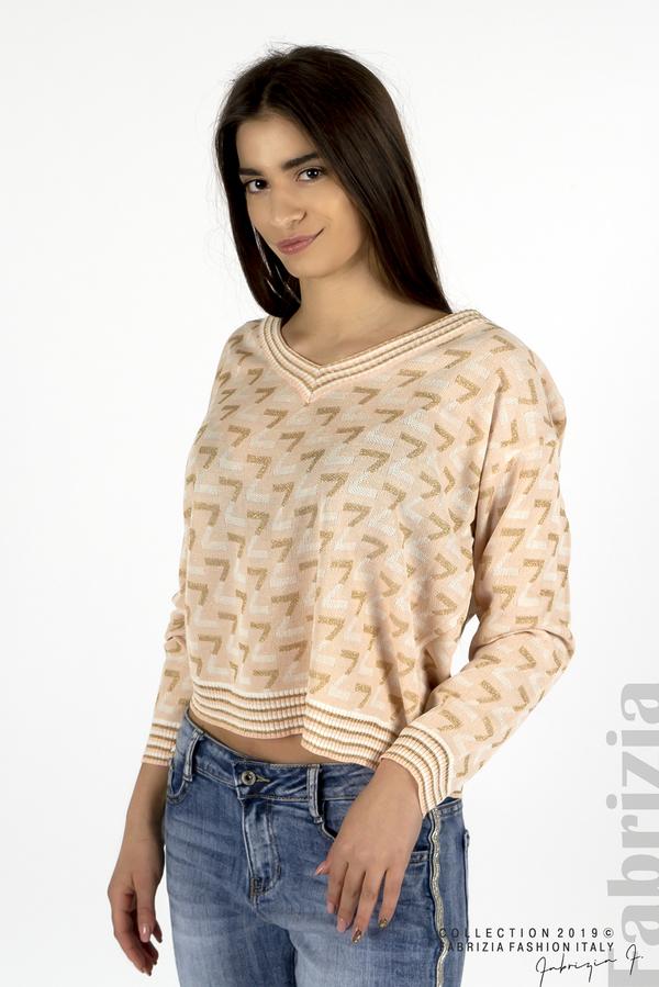 Дамска блуза с двуцветна буква розов 1 fabrizia