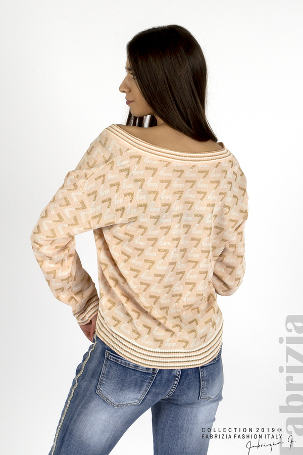 Дамска блуза с двуцветна буква розов 2 fabrizia