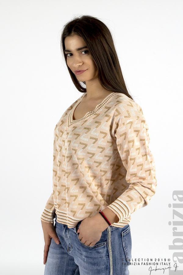 Дамска блуза с двуцветна буква розов 3 fabrizia