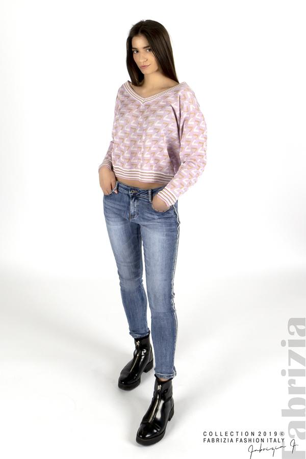 Дамска блуза с двуцветна буква лилав 2 fabrizia