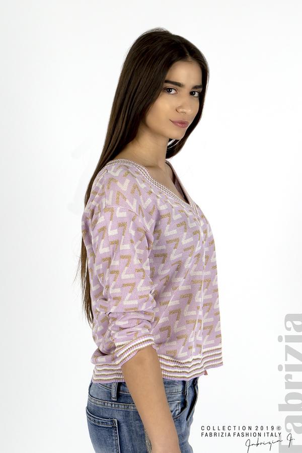 Дамска блуза с двуцветна буква лилав 3 fabrizia
