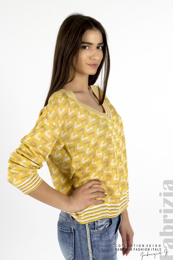 Дамска блуза с двуцветна буква  жълт 1 fabrizia