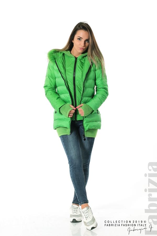 Дамско яке с естествен пух-зелен-2-fabriziafashion.bg