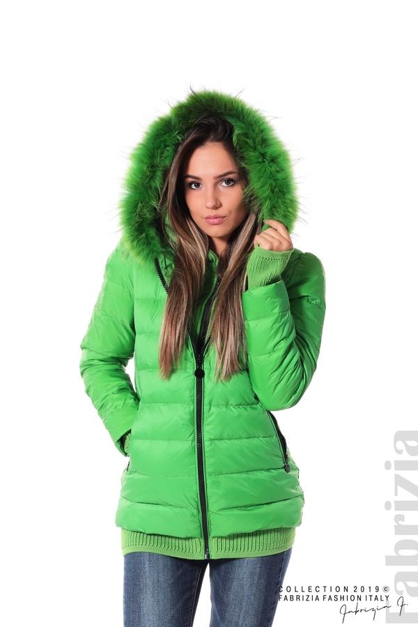 Дамско яке с естествен пух-зелен-1-fabriziafashion.bg