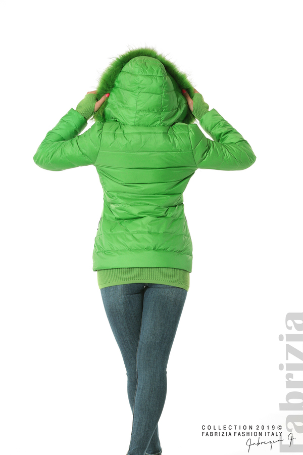 Дамско яке с естествен пух-зелен-4-fabriziafashion.bg
