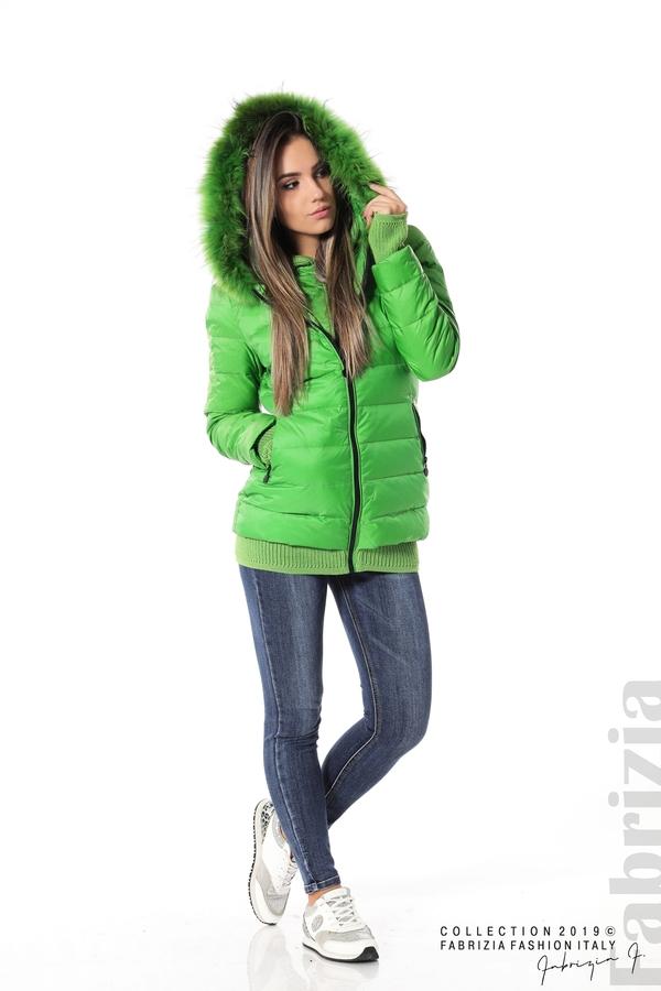 Дамско яке с естествен пух-зелен-3-fabriziafashion.bg